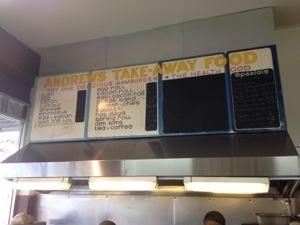 Andrews Hamburgers Menuboard