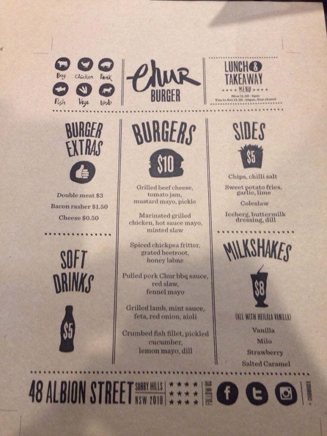 Chur Burger Menu
